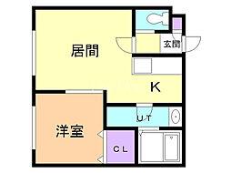 ドリームハウス栄町 2階1LDKの間取り