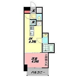 AVERE京阪本通 6階1DKの間取り