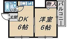 スタジオ桜塚[402号室]の間取り