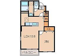 和歌山県和歌山市小倉の賃貸アパートの間取り