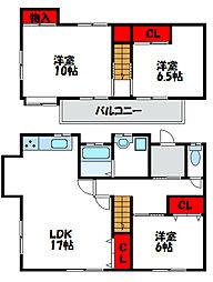 [一戸建] 福岡県福津市若木台4丁目 の賃貸【/】の間取り