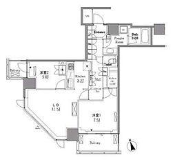 JR山手線 五反田駅 徒歩7分の賃貸マンション 18階2LDKの間取り