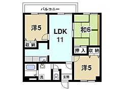 奈良県奈良市芝辻町4丁目の賃貸マンションの間取り