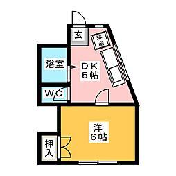 シングルハイツ加賀[2階]の間取り