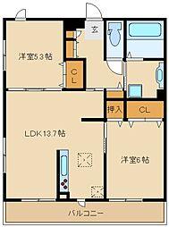 兵庫県尼崎市常松2丁目の賃貸アパートの間取り
