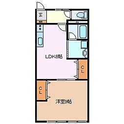 メゾンヤマナカ B棟[1階]の間取り