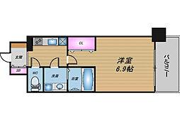 おおさか東線 JR淡路駅 徒歩3分の賃貸マンション 10階1Kの間取り