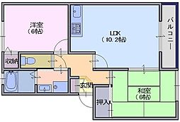 ソルティ二階堂B 2階2LDKの間取り