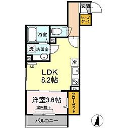 小田急小田原線 登戸駅 徒歩15分の賃貸アパート 2階1LDKの間取り