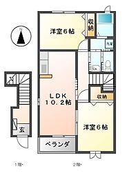 愛知県長久手市池田の賃貸アパートの間取り