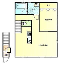 深堀町新築アパートC棟 2階1LDKの間取り