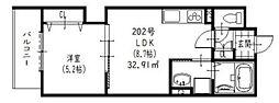 ラモーナ加島III 2階1LDKの間取り
