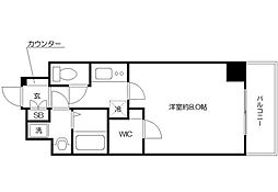 レジデンス大阪城東アペリオ 7階1Kの間取り