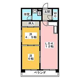 第3三鈴ビル[6階]の間取り