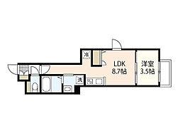 広島電鉄6系統 江波駅 徒歩6分の賃貸マンション 1階1LDKの間取り