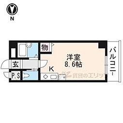 イクスピリオド京都河原町 3階ワンルームの間取り