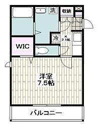 ウェルネス湘南 2階1Kの間取り