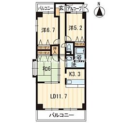 香川県高松市松島町3丁目の賃貸マンションの間取り