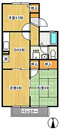 カサヴェールAsahi[2階]の間取り