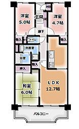 シティハイツ古川橋[407号室]の間取り