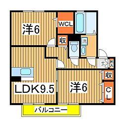 ソレアードD[1階]の間取り