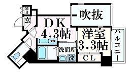 THE GRID北野坂 7階1DKの間取り