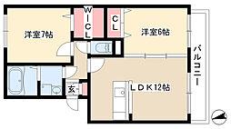 愛知県長久手市片平の賃貸アパートの間取り
