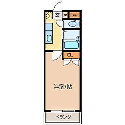 コタージュ壱番館[0407号室]の間取り