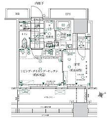 都営浅草線 大門駅 徒歩14分の賃貸マンション 4階1LDKの間取り