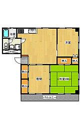 宿郷2田崎コーポ[4B号室]の間取り