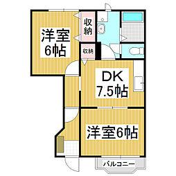 長野県茅野市宮川の賃貸アパートの間取り