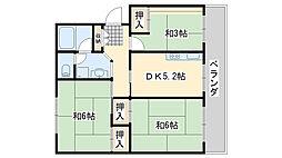 佐野湊団地2号棟[405号室]の間取り