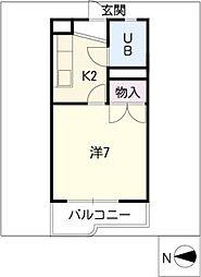 ワキタハイツ新館[3階]の間取り