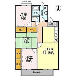 セジュールワヤマB[2階]の間取り