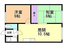 第2ニコニコハウス 2階2LDKの間取り