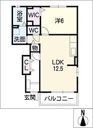 ヌーボーサウス[1階]の間取り