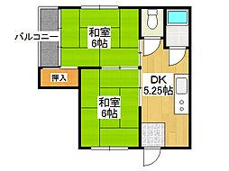 大阪府大阪市生野区中川6丁目の賃貸マンションの間取り