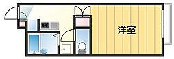 JR片町線(学研都市線) 忍ヶ丘駅 徒歩10分の賃貸マンション 1階1Kの間取り