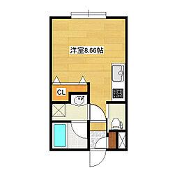 東林ハイツA・B棟 1階ワンルームの間取り