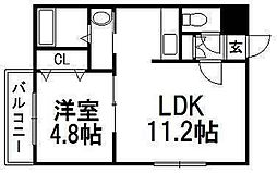 北海道札幌市西区発寒四条7丁目の賃貸マンションの間取り