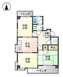 シャトー平山[2階]の間取り