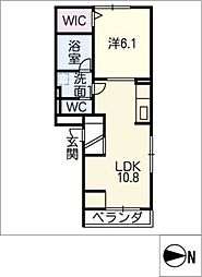 D−room尾頭橋A[3階]の間取り
