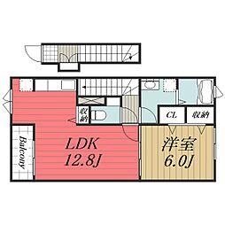 JR成田線 成田空港駅 バス14分 三里塚下車 徒歩10分の賃貸アパート 2階1LDKの間取り
