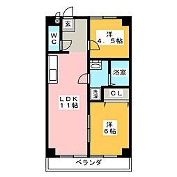 第3フクマルビル 6階2LDKの間取り