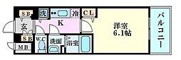 ララプレイス梅田西イルミナーレ 12階1Kの間取り