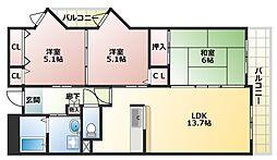 大阪府大阪市平野区加美正覚寺1丁目の賃貸マンションの間取り