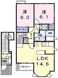 兵庫県明石市荷山町の賃貸アパートの間取り