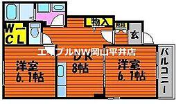 JR赤穂線 長船駅 徒歩26分の賃貸アパート 1階2DKの間取り