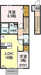 JR赤穂線 邑久駅 徒歩5分の賃貸アパート 2階2LDKの間取り