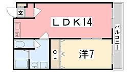 兵庫県姫路市北条1丁目の賃貸マンションの間取り